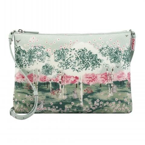 ZIPPED CLUTCH WITH STRAP BIRCH FOREST