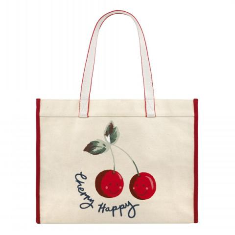 CANVAS WEBBING TOTE CHERRY HAPPY