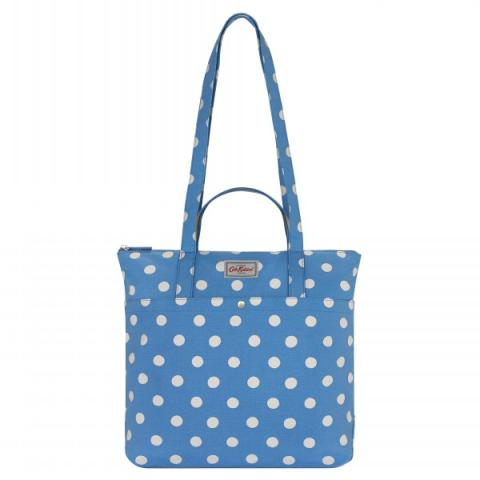 DOUBLE HANDLE COTTON TOTE BUTTON SPOT