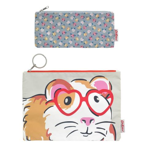 POLY POUCH SET OF TWO PETS PARTY PEBBLE