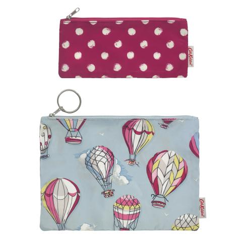 POLY POUCH SET OF TWO HOT AIR BALLOONS DUSTY BLUE