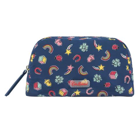 POLY DOUBLE ZIP POUCH GOOD LUCK CHARMS NAVY MULTI