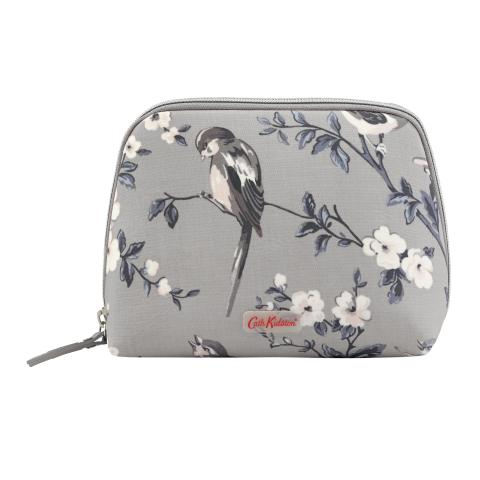 CURVED TOP COSMETIC BAG BRITISH BIRDS MINK
