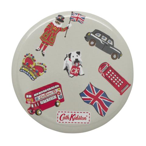 POCKET MIRROR LONDON STAMPS STONE