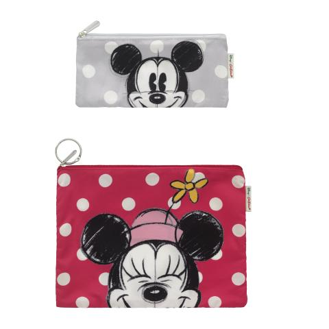 Disney Poly Pouch Set Of Two Mickey & Friends Placement Bright Red