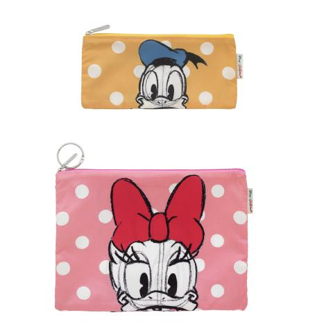 Disney Poly Pouch Set Of Two Mickey & Friends Placement Pink