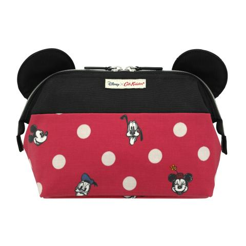 Disney Framed Washbag With Ears Mickey & Friends Button Spot Red