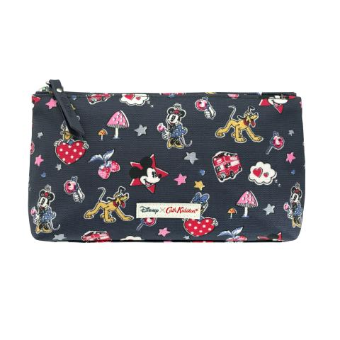Disney Zip Make Up Bag Mickey & Minnie Little Patches Slate Grey