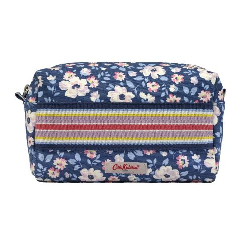 CANVAS POUCH WITH WEBBING STRIPE ISLAND FLOWERS NAVY