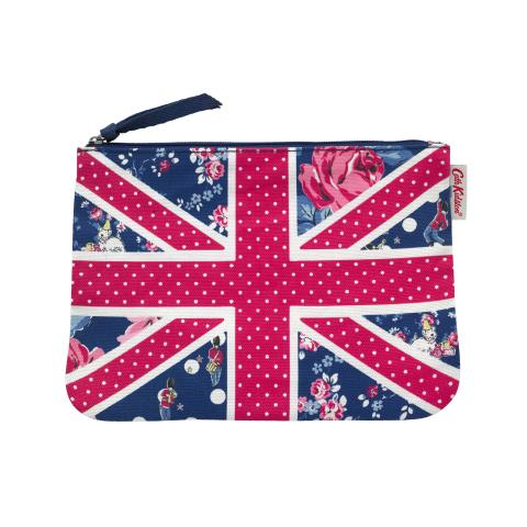 25TH ANNIVERSARY CANVAS UNION JACK POUCH  BIRTHDAY FLAG NAVY