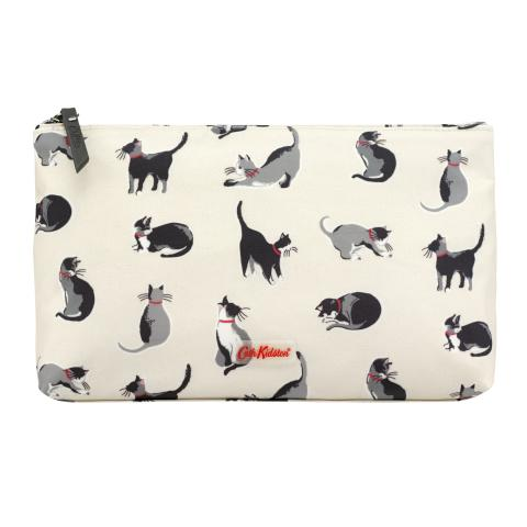 MATT ZIP COSMETIC BAG SMALL PAINTED CATS CREAM