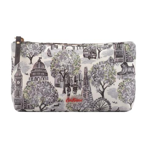 LONDON TOILE SMALL MONO MATT ZIP MAKE UP BAG