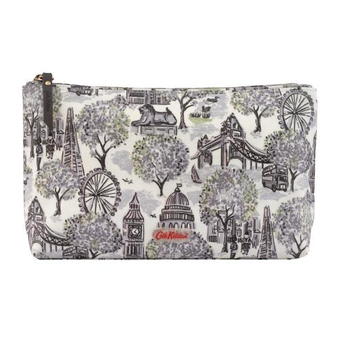 LONDON TOILE SMALL MONO MATT ZIP COSMETIC BAG