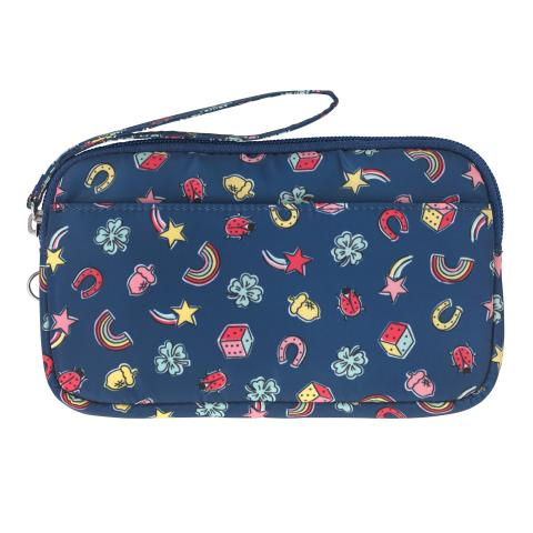 LARGE GADGET CASE GOOD LUCK CHARMS NAVY MULTI