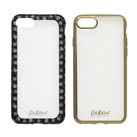 PRINTED EDGE SET OF 2 CASES LUCKY ROSE CHARCOAL