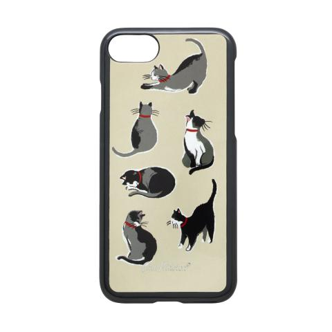 IPHONE 7 CASE SMALL PAINTED CATS CREAM