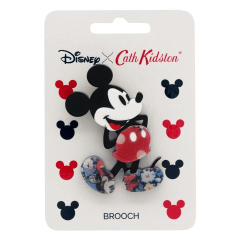 DISNEY RESIN BROOCH MINNIE & MICKEY SPOT RED