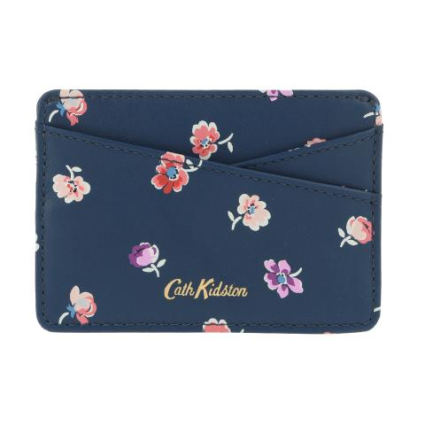 LEATHER PRINTED CARD HOLDER MALLORY SPRIG NAVY