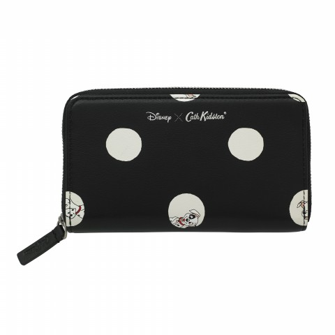 DISNEY LEATHER PRINTED SMALL CONTINENTAL WALLET PUPPY SPOT BLACK