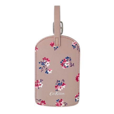 LEATHER LUGGAGE TAG WOODSTOCK DITSY PLASTER PINK