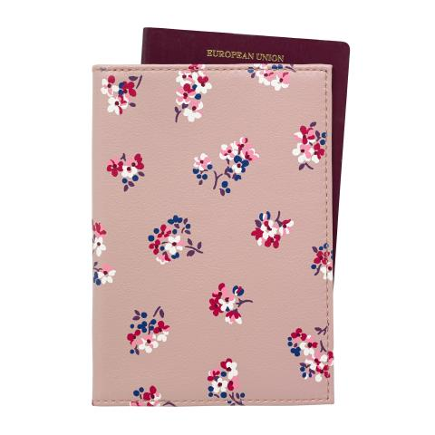LEATHER PASSPORT HOLDER WOODSTOCK DITSY PLASTER PINK