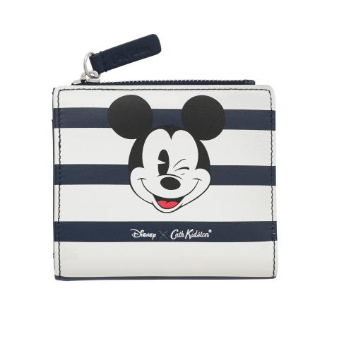 Disney Small Folded Leather Purse with Coin Slot Mickey Stripe Placement Dusty Blue