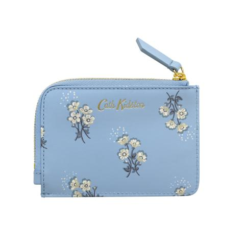 PRINTED SMALL LEATHER CURVED CARD PURSE SMALL BUTTERCUP BUNCH CORNFLOWER