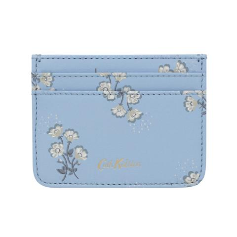 PRINTED LEATHER CARD HOLDER SMALL BUTTERCUP BUNCH CORNFLOWER