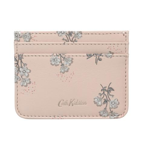PRINTED LEATHER CARD HOLDER SMALL BUTTERCUP BUNCH SHELL PINK