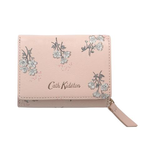 PRINTED SMALL LEATHER COMPACT WALLET SMALL BUTTERCUP BUNCH SHELL PINK