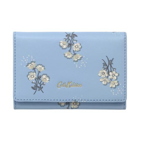 PRINTED LEATHER BUSINESS CARD HOLDER SMALL BUTTERCUP BUNCH CORNFLOWER