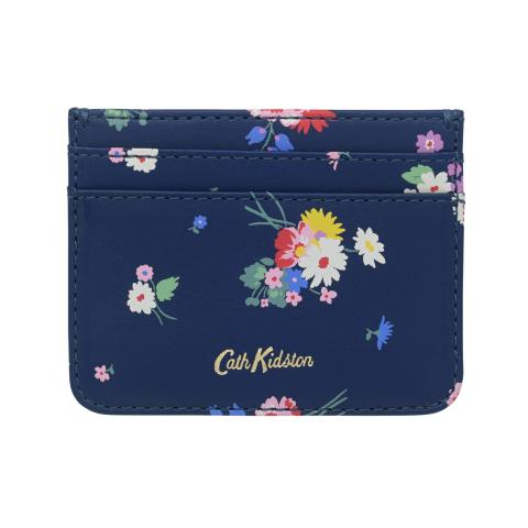 PRINTED LEATHER CARD HOLDER BUSBY BUNCH NAVY