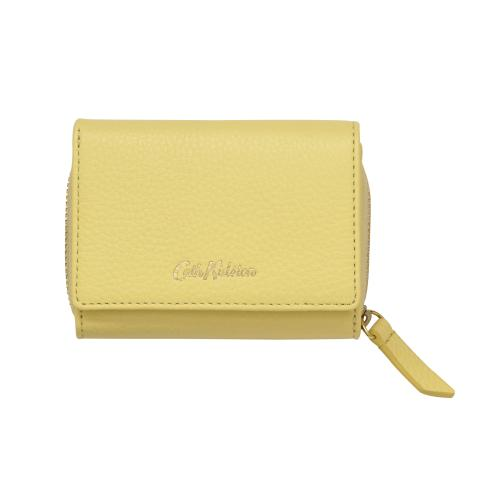 SMALL LEATHER COMPACT WALLET SOLID YELLOW