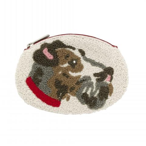 DOG BOUCLE SHAPED COIN PURSE