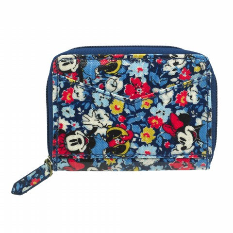 DISNEY ZIPPED PURSE W' MIRROR MINNIE MEWS DITSY BLUE