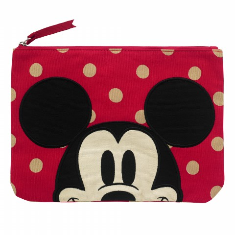 DISNEY COTTON POUCH BUTTON SPOT RED