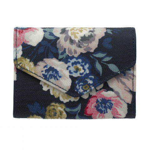 EMBOSSED MINI PURSE WINDFLOWER BUNCH NAVY