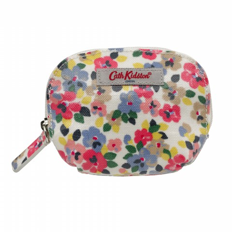 CURVED COIN PURSE PAINTED PANSIES PINK MULTI