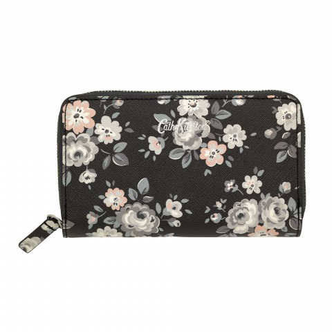DOUBLE ZIP PURSE LATIMER ROSE CHARCOAL