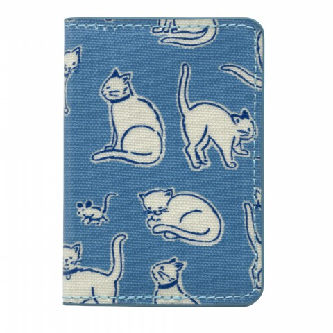 TWO-FOLD TICKET HOLDER MONO CATS MID BLUE
