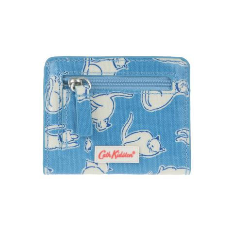 CARD PURSE O/C MONO CATS MID BLUE