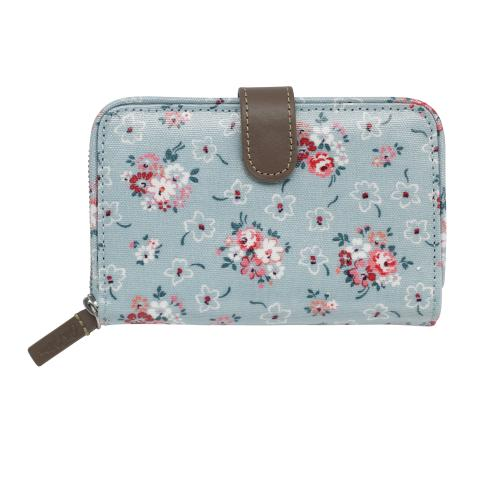 FOLDED ZIP WALLET LUCKY BUNCH DUSTY BLUE