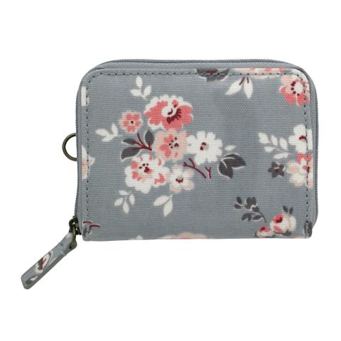 ZIPPED TRAVEL PURSE WELLS ROSE SLATE BLUE