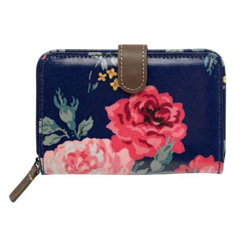 FOLDED ZIP WALLET ANTIQUE ROSE NAVY