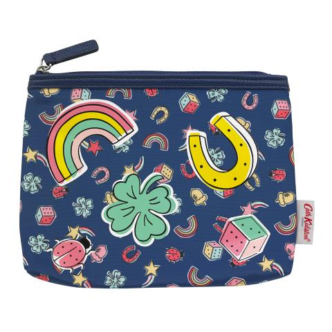 PRINTED POLY POUCH GOOD LUCK CHARMS NAVY MULTI