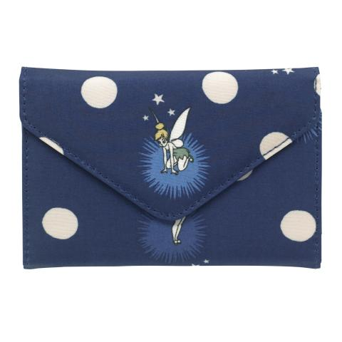 DISNEY ENVELOPE Z FOLD WALLET TINKER BELL BUTTON SPOT NAVY