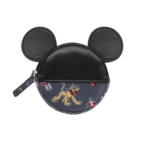 Disney Shaped Coin Purse Mickey & Minnie Little Patches Slate Grey