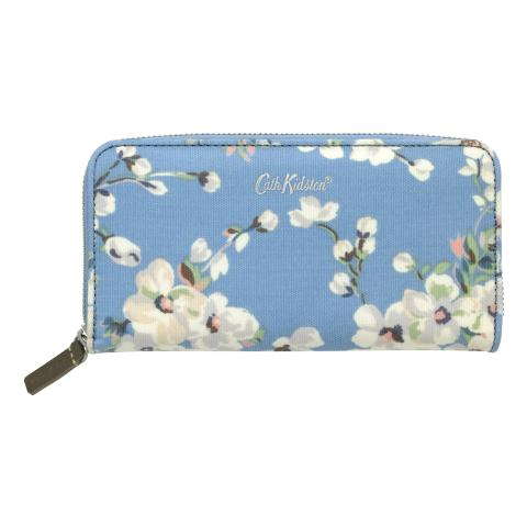 CONTINENTAL ZIP WALLET WELLESLEY BLOSSOM SOFT BLUE