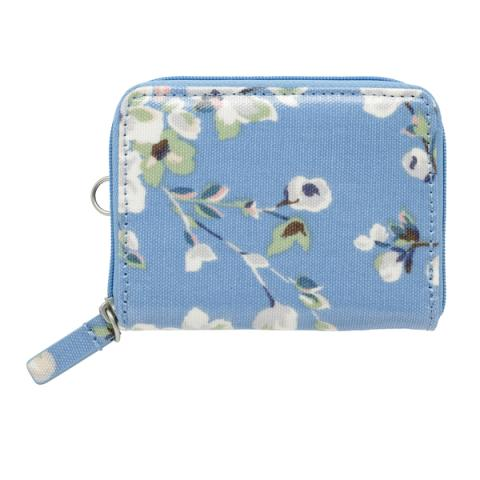 ZIPPED TRAVEL PURSE  WELLESLEY BLOSSOM SOFT BLUE