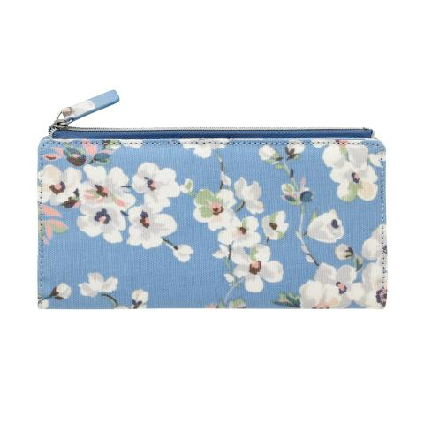 LARGE FOLDED CARD PURSE WELLESLEY BLOSSOM SOFT BLUE